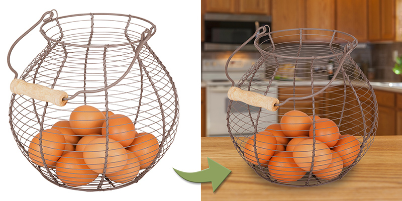 Basket with clipping paths